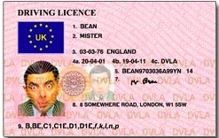 Mr Bean driving license