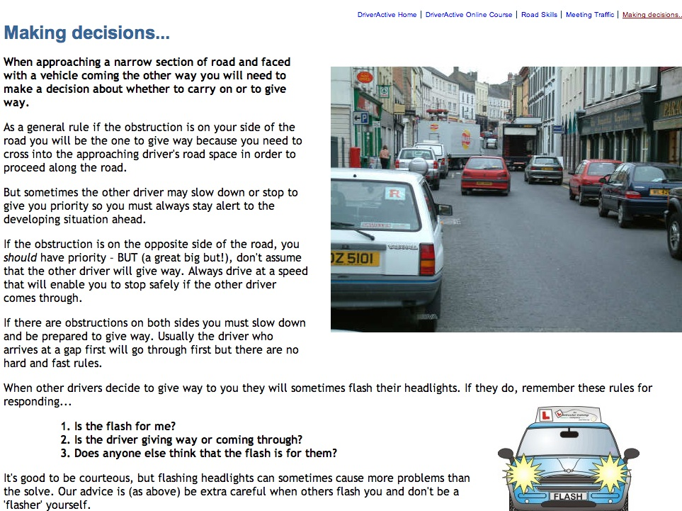 An example on-line driving lesson