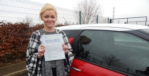 Danielle passed her driving test with a nearly perfect drive - just one tiny fault!