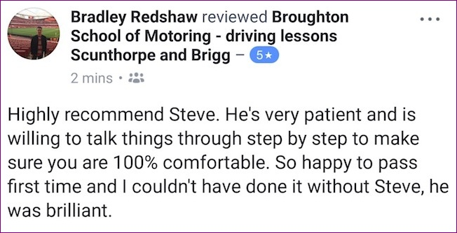 Bradley took driving lessons in Scunthorpe