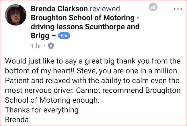 Brenda took her driving test in Scunthorpe