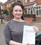 Charlotte passed her driving test in Scunthorpe