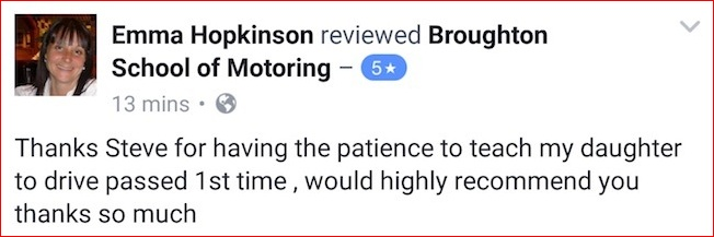Chloe (and mum Emma) recommends the Broughton School of Motoring