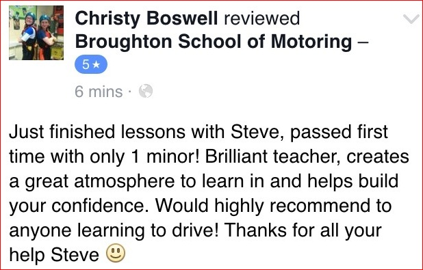 Christy recommends the Broughton School of Motoring