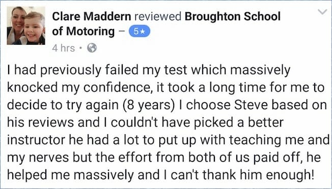 Clare passed her test with the Broughton School of Motoring in Scunthorpe