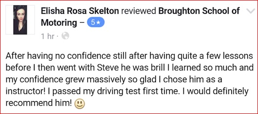 Elisha took driving lessons in Brigg with the Broughton School of Motoring