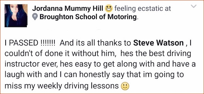 Jordanna passed her test in Scunthorpe