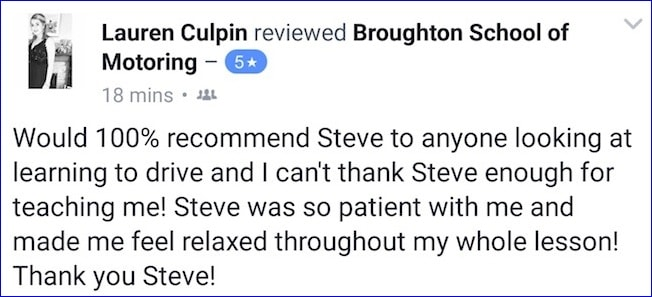 Lauren's review of her driving lessons with the Broughton School of Motoring