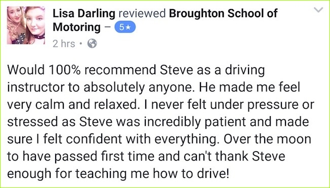 Lisa took driving lessons for beginners in Kirton