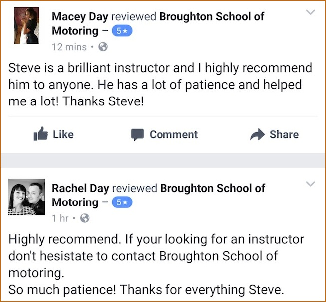 Macey review of her driving lessons in Scunthorpe with the Broughton School of Motoring