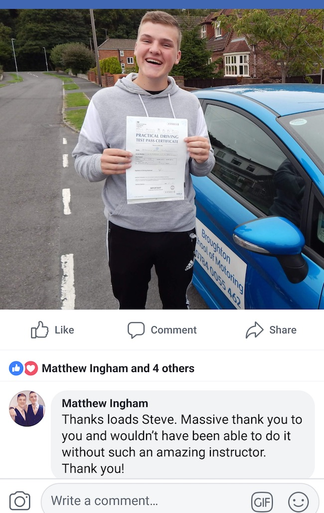 Matthew's review of his driving lessons in Brigg
