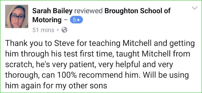 Mitchell's mum review of the Broughton School of Motoring