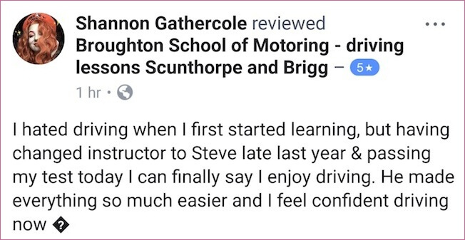 Shannon passed her driving test in Scunthorpe