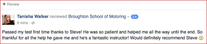 Tanisha reviewed her driving lessons with the Broughton School of Motoring