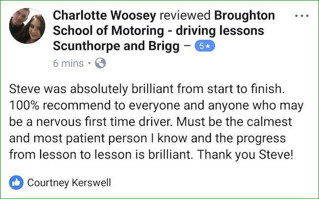 Charlotte's review of her driving lessons with the Broughton School of Motoring