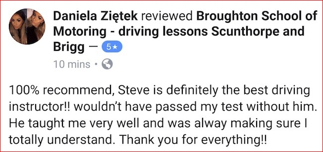 Daniela's review of her driving lessons with the Broughton School of Motoring