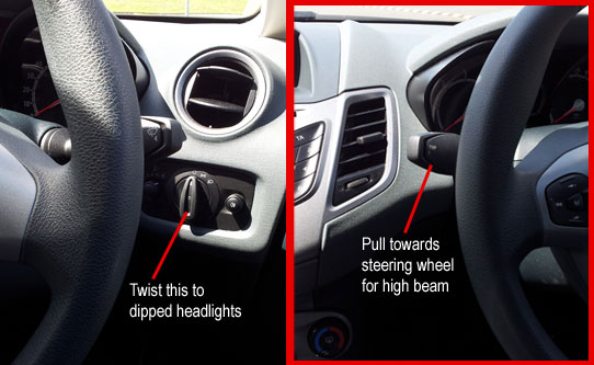 Driving test tell me question: how to turn on main beam headlights Fiesta 2013
