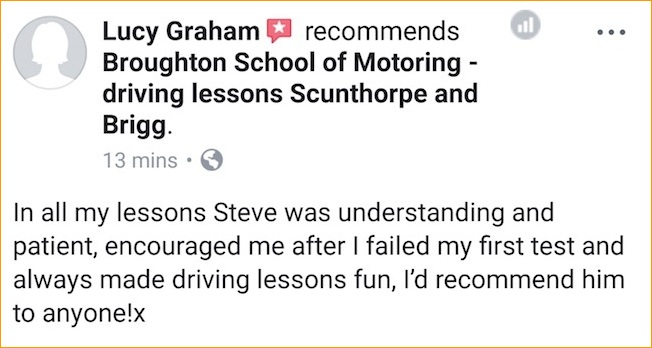 Lucy's review of her driving lessons in Scunthorpe
