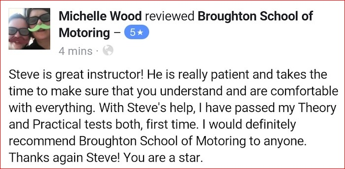 Michelle review ofdriving lessons taken with the Broughton School of motoring in Scunthorpe