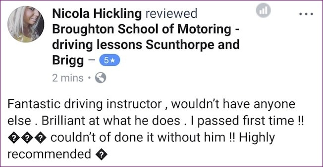 Nicola took driving lessons in Scunthorpe