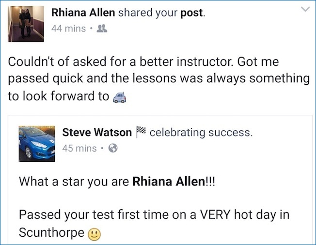 Rhiana passed her driving test first time in Scunthorpe!