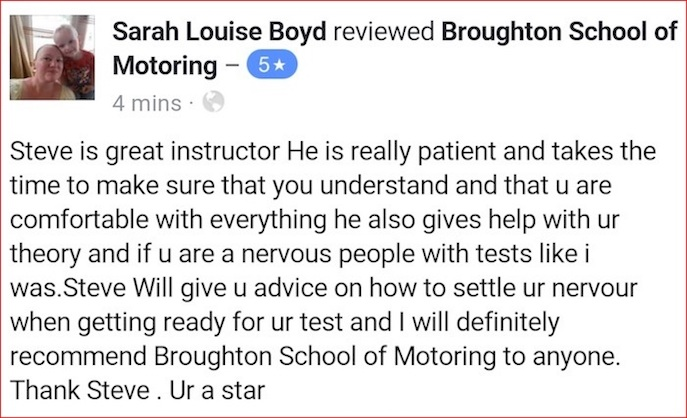 Sarah took driving lessons in Scunthorpe
